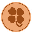 four-leafed clover bronze coin vector image vector image