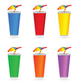 glass of juice with a straw color art vector image