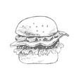 hamburger hand drawn sketch vector image vector image