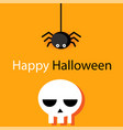 happy halloween skull and small spider background vector image vector image