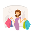Happy pregnant woman with shopping bags vector image vector image