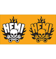 Hemi Skull and Pistons with grunge option vector image vector image