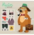 Hipster elements for puppy dog vector image vector image