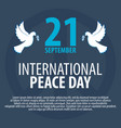 international peace day banner 21 september dove vector image vector image