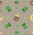 irish shamrock pot gols horseshoe pattern vector image vector image