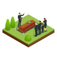 isometric funeral ceremony at cemetery sad vector image vector image