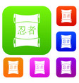 japanese traditional scrol set color collection vector image vector image