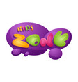 kids zone playroom banner in cartoon style for vector image vector image