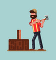 lumberjack chopping wood vector image