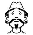 Man face with mustaches vector image