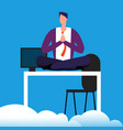 meditation time on work man is meditating over vector image vector image