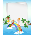 Paper design with fairies and rainbow vector image vector image