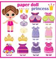 Paper doll princess with a set of clothes vector image vector image