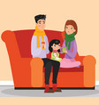 parents and kid with flu vector image