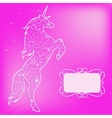 Pink backdrop with unicorn vector image vector image