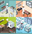 professional kitchen 4 isometric icons vector image