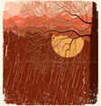 raining nature landscape with tree in evening back vector image vector image