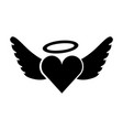 romantic heart love wings valentine tattoo vector image vector image