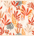seamless pattern with flowers branches leaves vector image vector image