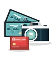 set vacation credit card camera and tickets vector image vector image