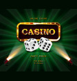 shining sign casino banner vector image vector image