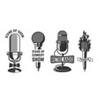 stand up show set emblems with retro vector image vector image