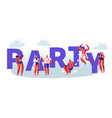 summertime beach party concept male female vector image