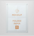 template of folded poster in glass frame vector image vector image