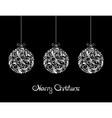 Three White Christmas balls on black background vector image vector image