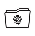 touch id on folder icon vector image vector image