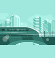 train rides along bridge vector image