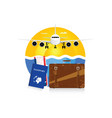 travel symbol with vintage suitcase and passport vector image