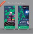 trilateral rollup banner in midnight blue and vector image vector image