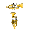 Two variations of a cartoon trumpet vector image vector image