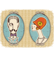 vintage portraits background vector image vector image