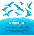 watercolor silhouettes of flying seagulls vector image vector image