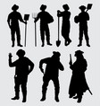 worker and cowboy silhouette vector image vector image