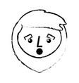 cartoon surprised face man beard character vector image