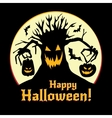 Halloween - pumpkins and old tree vector image
