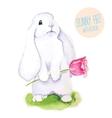 White Rabbit Watercolor Easter art print vector image