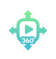 360 degrees video icon on white vector image vector image