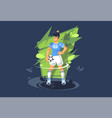 a young guy plays soccer a football player plays vector image vector image
