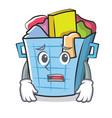 afraid laundry basket character cartoon vector image vector image