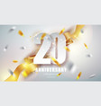 anniversary premium emblem with golden confetti vector image vector image