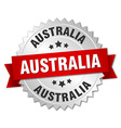 Australia round silver badge with red ribbon vector image vector image