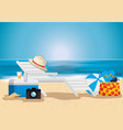 beach with summer holidays icons vector image vector image