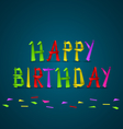 Birthday cards from folded colored letters vector image vector image