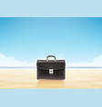 business suitcase at sunny beach background vector image