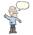 cartoon angry old man in patched clothing with vector image