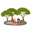 children doing picnic in park with many trees vector image vector image